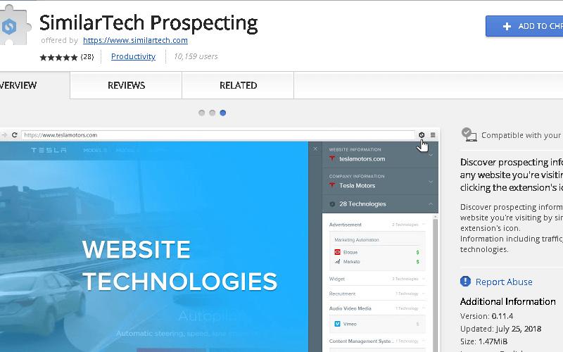 SimilarTech Prospecting Chrome Extension