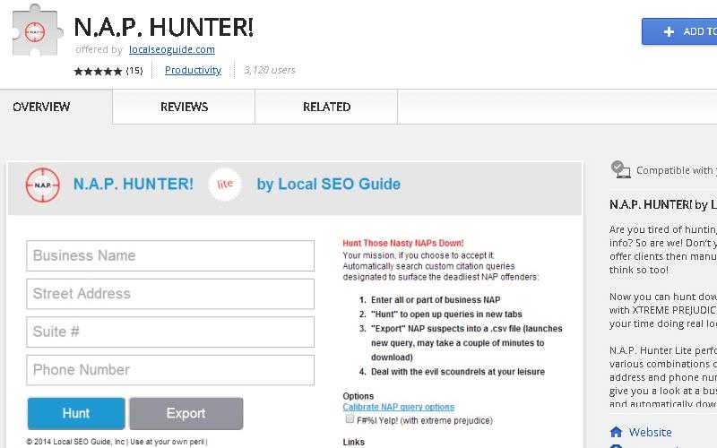 NAP Hunter Chrome Extension