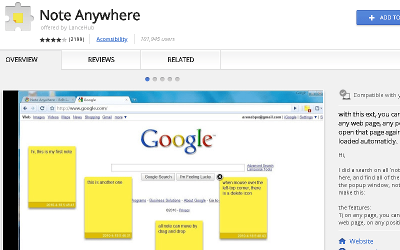 Note Anywhere Chrome Extension