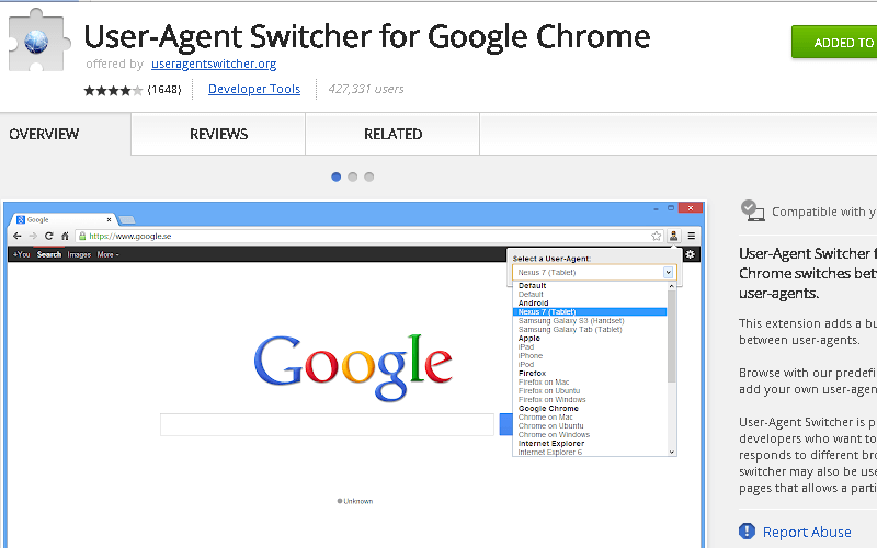 User Agent-Switcher Chrome Extension
