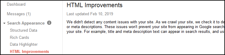Google Search Console HTML Improvements