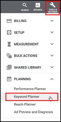 Google Keyword Planner Menu