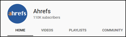 AHREF YouTube Channel Metrics