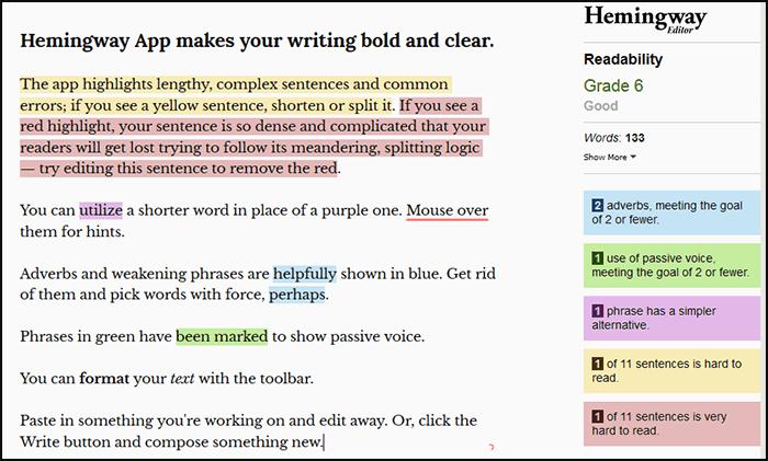 SEO Copywriting Hemingway Tool