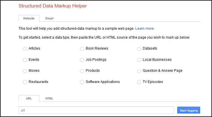 Google's Structured Data Markup Helper